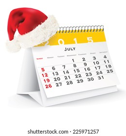 July 2015 desk calendar with Christmas hat - vector illustration