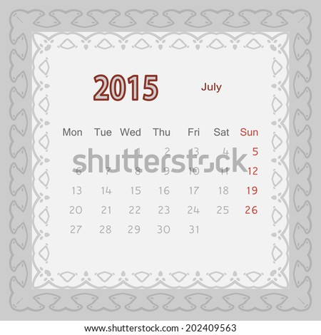 July 2015 Year Month Calendar Vector Stock Vector Royalty Free