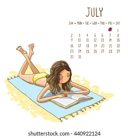 July. 2017 calendar with cute girl sunbathing on a beach mat on the sea and reading a book. Can be used like greeting cards.