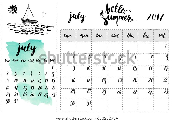 July 2017 Calendar Planner Page Ink Stock Vector (Royalty