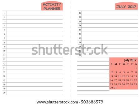 july 2017 calendar template monthly planner stock vector royalty