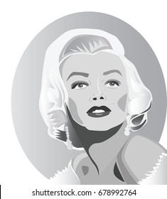 July, 2017: Editorial illustration of a famous actress, 1950s sex symbol and movie star Marilyn Monroe. Marilyn Monroe vector portrait.