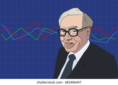 July, 2017: Famous investor and economist Warren Buffett forecasts stocks market derivatives will continue to rise. Warren Buffett on a graph background.