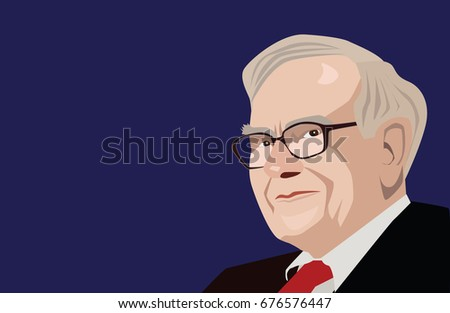 July, 2017:  Famous investor and economist Warren Buffett vector portrait on a blue background.