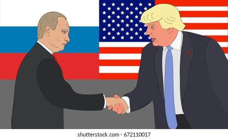 July, 2017: The meeting between Presidents of the Russian federation and the US Vladimir Putin and Donald Trump on the background of Russian and US flags.