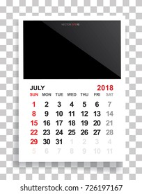 july 2018 calendar background with empty photo area white sheet of paper on a