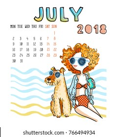 July. 2018 calendar. Cute girl with dog. Can be used like greeting cards.