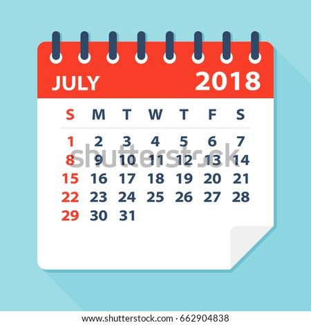 july 2018 calendar leaf flat vector illustration