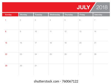 July 2018 calendar planner vector illustration, simple and clean design.
