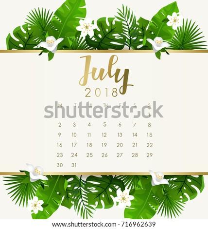 July 2018 Calendar Template Exotic Tropical Stock Vector Royalty