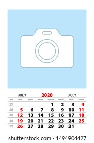 July 2020 calendar planner A3 size with place for your photo. Vector planner.