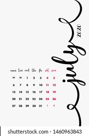 July 2020 Diary Page. Vector Set 12 Months. Calendar 2020 Year Design Idea. Vector Template.