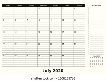 July 2020 Monthly Business Desk Pad Calendar. July 2020 calendar planner with to-do list and place for notes in black and white design.