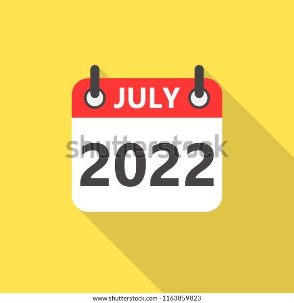 Calendar 2022 July.July 2022 Calendar Flat Style Icon Stock Vector Royalty Free 1163859823