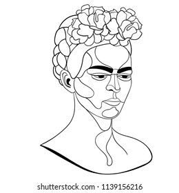 July 21, 2018: vector portrait of Mexican artist Frida Kahlo in line art. Easy to change colors.