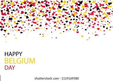 July 21, National Day of Belgium. Independence Day serpentine slices flying background. Holiday confetti in Belgium  flag colors.  Vector illustration