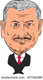 July 25, 2016: Caricature illustration of Binali Yildirim ,Turkish politician and 27th Prime Minister of Turkey facing front done in cartoon style.