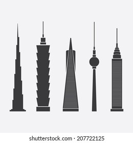 July 28, 2014: Collection of Abstract Vector Illustrations of Five Famous Skyscrapers: Burj Khalifa, Taipei 101, Transamerica Pyramid, Berlin TV Tower, Chrysler Building - For Editorial Use