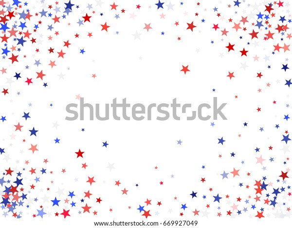 July 4 background with stardust frame. Red and blue stars border, American Independence Day graphic design. Flying holiday star dust confetti for President Day celebration. Horizontal banner for text.