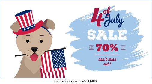 July 4 sale poster. Dog in hat holding usa flag with mouth. 4th of July Independence day funny background. Vector flat illustration