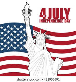 July 4th Independence Day of America. Statue of Liberty and USA flag. National patriotic holiday. State celebration