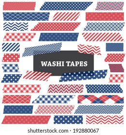 July 4th Patriotic Red, White and Blue Washi Tape Strips with Torn Edges and Different Patterns. Semitransparent. Perfect as Photo Frame Border, Clip Art or Scrapbook Embellishment. Global colors used