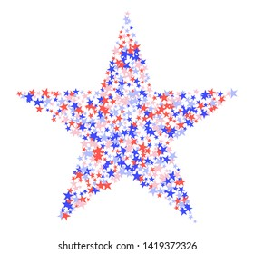 July 4th pattern. Big star made of many little stars. Red, blue and white confetti, colorful backdrop in abstract style. Vector illustration on white background