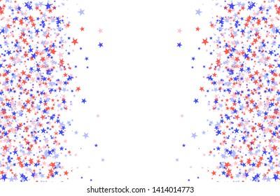 July 4th pattern made of stars. Red, blue and white confetti with blank space in center, colorful backdrop in abstract style. Vector illustration on white background
