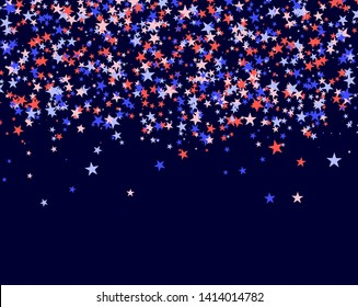 July 4th pattern made of stars. Red, blue and white confetti falling from the sky, colorful backdrop in abstract style. Vector illustration on blue background