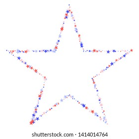 July 4th pattern. Star shape made of little stars. Red, blue and white confetti, colorful backdrop in abstract style. Vector illustration on white background