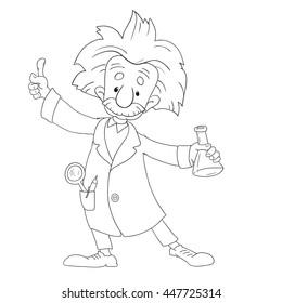 JULY 5, 2016. A vector illustration Albert Einstein. Cartoon  isolated, vector editorial. Einstein, scientist, professor, genius, mathematician, physicist, chemist