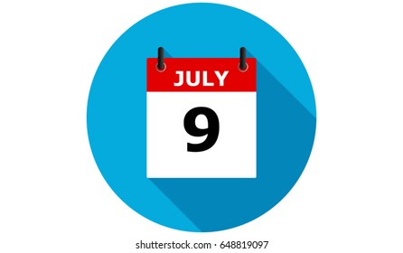 july 9 blue calendar vector flat icon with long shadow