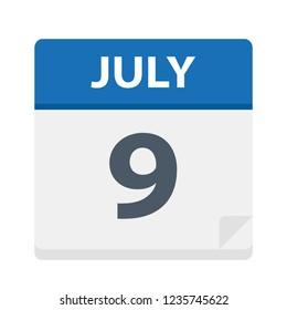 July 9 - Calendar Icon - Vector Illustration