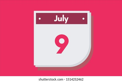 July 9th calendar icon. Day 9 of month. Vector illustration.