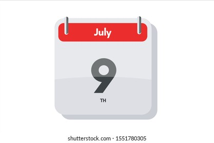 July 9th calendar icon. Day 9 of month. Vector icon illustration.