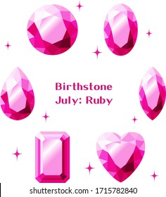 July Birthstone: Ruby Illustration Set