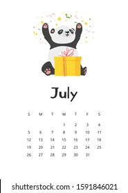 July calendar with panda template. Asian bear with gift cartoon character. Cute chinese animal with present box and confetti. Childish planner page 2020 design with adprable wildlife
