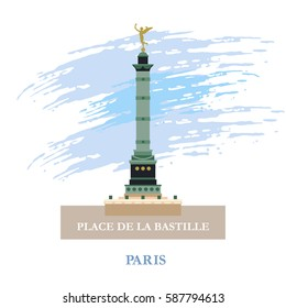 July column on place de La Bastille. Paris, France. Vector illustration.