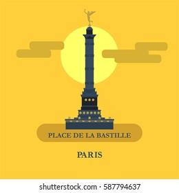 July column on place de La Bastille. Vector illustration. Paris, France.