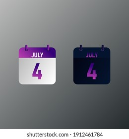 July daily calendar icon in flat design style. Vector illustration in light and dark design.