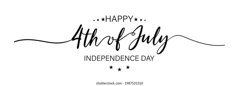 July fourth. Happy independence day. July fourth banner for independence day. Lettering style. Vector