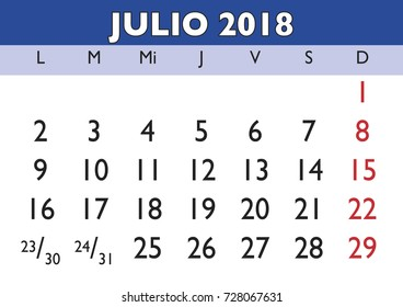 July month in a year 2018 wall calendar in spanish. Julio 2018. Calendario 2018
