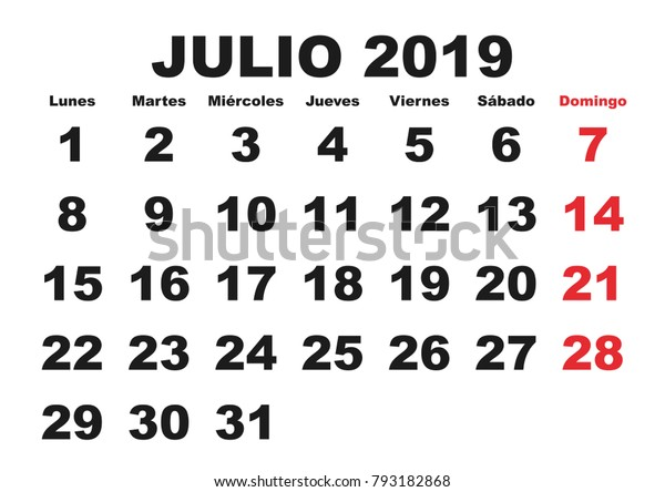 Calendario Julio 2019 Vector.July Month Year 2019 Wall Calendar Stock Vector Royalty