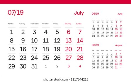 JULY PAGE. 12 Months Premium 2019 Calendar Grid Set. Table, Wall, Desk, Quarter Diary Calendar 2019 Year Design. Clean, Simple Diary Planner. Vector, Editable. White Background and Red Font.