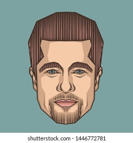 July,2018 : Brad Pitt Portrait Illustrtion in Symmetrical Style