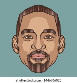 July,2018 : Will Smith Portrait Illustration.Symmetrical Style