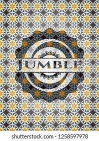 Jumble arabesque style emblem. arabic decoration.