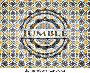 Jumble arabic style emblem. Arabesque decoration.