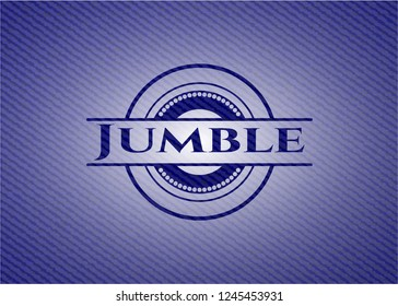 Jumble emblem with jean high quality background