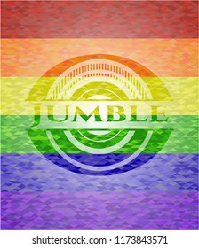 Jumble emblem on mosaic background with the colors of the LGBT flag